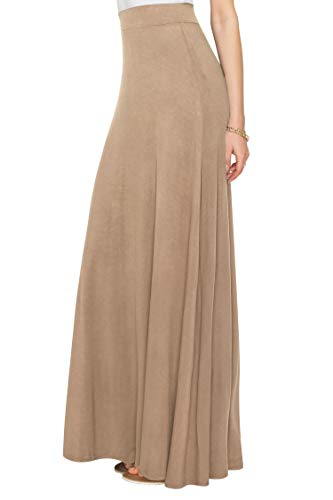 WDR1434 Womens Solid Maxi Skirt with Elastic Waist Band S TAUPE