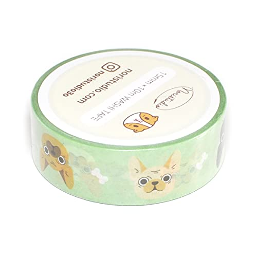 French Bulldogs Washi Tape in Mint Green Background