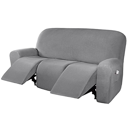 H.VERSAILTEX Super Stretch Recliner Sofa Covers Reclining Couch Covers Recliner Sofa Slipcovers 3 Seater Furniture Covers Thick Soft Jacquard Fabric Form Fitting and Easy Put On, Dove