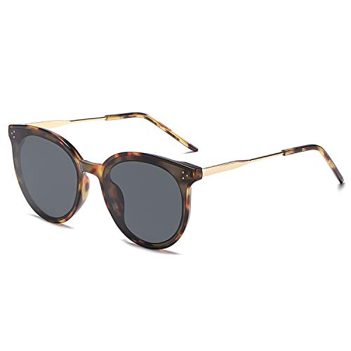 SOJOS Classic Retro Round Oversized Sunglasses for Women with Rivets DOLPHIN SJ2068 with Dark Tortoise Frame/Grey Lens