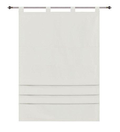 Raffrollo Palma Microsatin Blickdicht matt, 80 x 175 (BxH), Creme mit Schlaufen und Universalgardinenband Raffgardinen Faltrollo, 20407