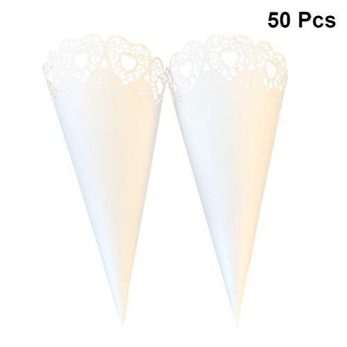 TOYANDONA 50 piezas conos de confeti conos de papel hueco envoltura de flores ramo de dulces cajas de regalo de caramelo tubo para fiesta de bodas de san valentín favor diy craft (blanco)