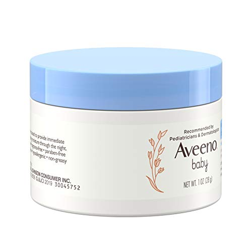 Aveeno Baby Eczema Therapy Nighttime Moisturizing Balm, Colloidal Oatmeal & Ceramide, Soothes & Relieves Dry, Itchy Skin from Eczema, Hypoallergenic, Fragrance-Free, Travel Size, 1 oz