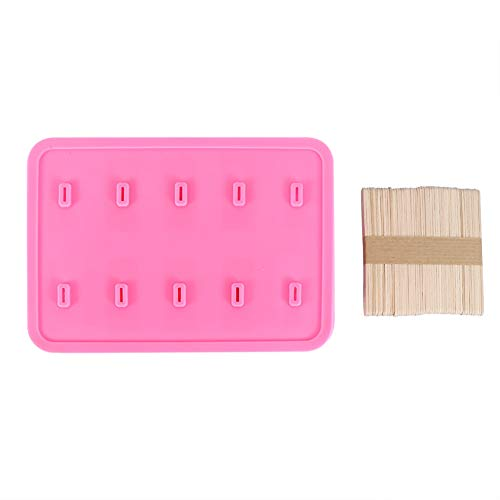 Popsicle Ice Mold Maker Ice Cream Mold, 10 Cells Silica Gel Frozen Ice Cream Mold Popsicle Maker with 50 Sticks Best for Party Indoor and Outdoor (3#)