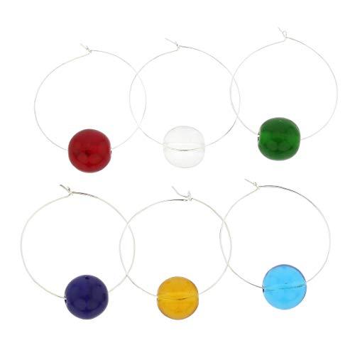 Murano Glas Regenbogen Weinglas Charms 6er Set