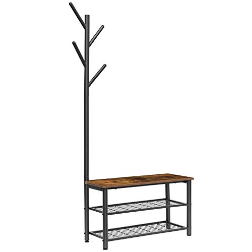 HOOBRO Coat Rack Shoe Bench, Shoe Rack and Coat Stand, 2 in 1, Multifunctional, Good Air Permeability, Strong and Durable, Industrial Style, Entryway, Living Room, Bedroom BF12HX01