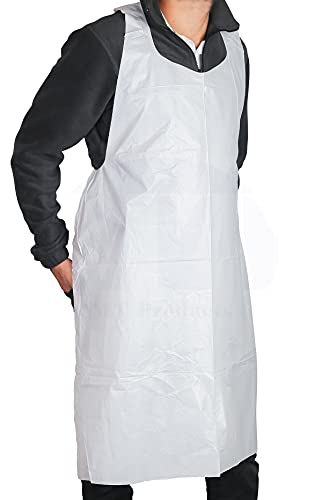 AMZ White Polyethylene Aprons 46' Pack of 100 Unisex Liquid-Proof Workwear 1 mil Polyethylene Fabric Aprons Protective Uniform Aprons for Men Women Plastic Laboratory Aprons