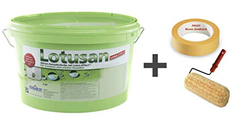Südwest Lotusan 12,5 Liter weiß + Buron Goldband 30 mm + Fassadenrolle 25 cm mit Bügel