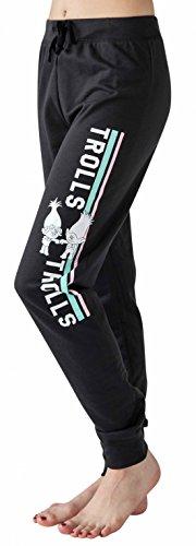 Trolls Poppy & Branch Women's Junior Fit Girls Jogger Pants Lounge Pants (X-Large) (Medium) Black