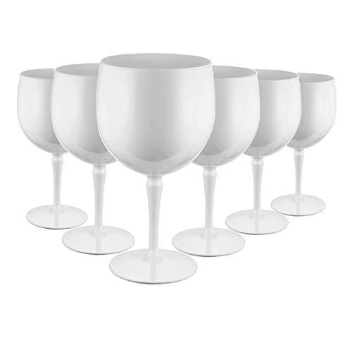 RB Copas Balon Gin Cóctel Blanco Plástico Premium Irrompible Reutilizable 40cl, Set de 6
