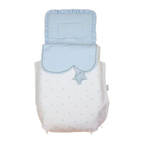 Rosy Fuentes - Saco para Capazo - 11 x 50 x 60 cm - Saco para Capazo Universal - Saco Carrito Bebé - Fabricado en Piqué - Bonito Diseño - Resistente y Duradero - Color Blanco/Celeste