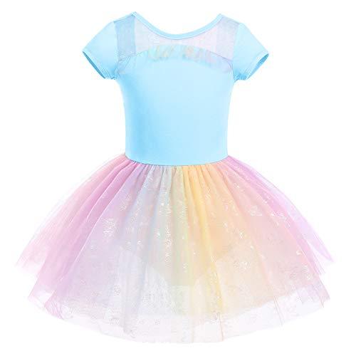 IMEKIS Vestido de ballet para niñas y niñas, de algodón, con falda de tul de mariposa, manga corta, sin espalda, para bailarina, disfraz de bailarina
