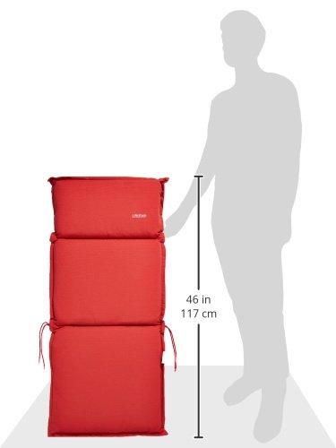 GO-DE Sesselauflage mittel mit Reißverschluss   In Uni Rot    110 x 50 x 8 cm   32382-25