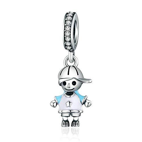 Colgantes De Plata 925 para Mujer,Personalidad Moderna Gorra Azul Chainless Boy Forma Encante para Señoras Vacaciones Regalo Regalo De San Valentín Navidad Regalo Joyería Actual