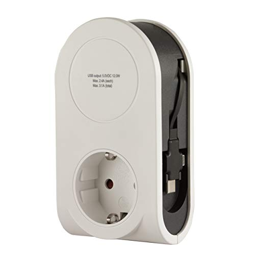REV 0020840103 Flex, USB Ladegerät 3 in 1 mit Lightening, Micro, USB & USB-C Stecker, Weiss