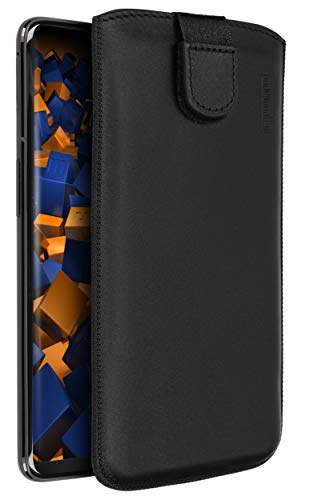 mumbi Echt Ledertasche kompatibel mit OnePlus 6 Hülle Leder Tasche Case Wallet, schwarz