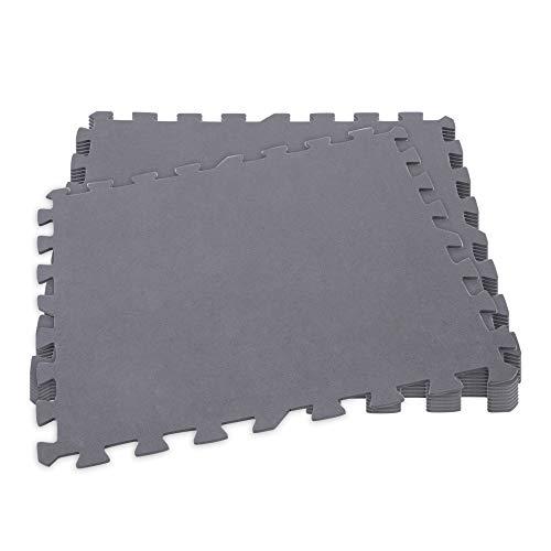 Intex 29084 - Protector suelo, suelo goma EVA, 8 piezas, pieza 50x50 cm, 190 cm², Puzzle tapiz, Protector jardín, resistente al agua, secada rápido, color gris, INTEX