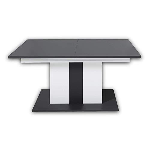 Stella Trading MEDIANA Esstisch in graphit, weiß matt - ausziehbarer Esszimmertisch für Ihr Wohn- & Esszimmer - 160-210 x 76 x 90 cm (B/H/T)
