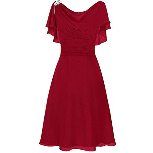 LOPILY Abendkleid Große Größen Damen Rüschen Kurzarm V-Ausschnitt Cocktail Kleid Rückenfreies Kleid Übergrößen Festliche Kleider für Damen Große Größen Kleid für Hochzeit Gast (Rot, DE-42/CN-2XL)