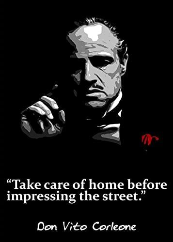 SGYY Don Vito Corleone con una Rosa roja Cartel del Padrino Citas de película Lienzo Pintura Decorativa Arte de Pared póster para el hogar Bar decoración del hogar 50x70cm sin Marco