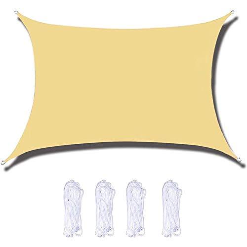 Toldo Vela de Sombra Impermeable 2 X 3 M. Toldo, Protección solar, Protección contra la intemperie, Protección UV, con cuerdas de sujeción, Rectángulo, Beig(Size:2 x 3 m)