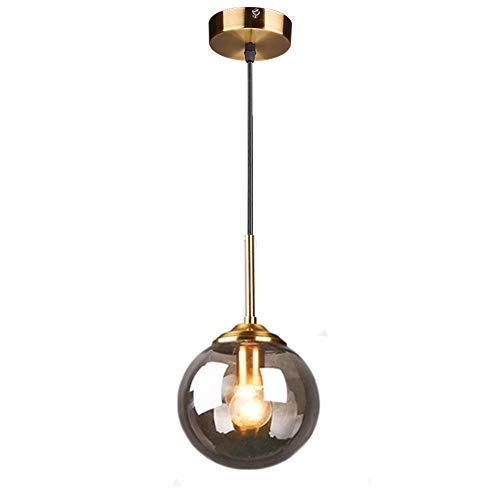 MZStech Globo di vetro industriale retrò Loft Lampada a sospensione, lampadario a grappolo Lampada a sospensione infisso Raccordi in ottone (Grigio)
