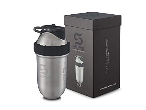 Shakesphere Tumbler Steel: Protein Shaker Bottle Keeps Hot Drinks HOT & Cold Drinks Cold, 24 oz. No Blending Ball or Whisk Needed, Easy Clean Up - BPA Free | Great for Shakes, Smoothies, More
