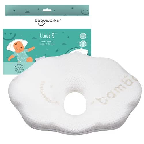 Baby Works - Newborn Baby Head Shaping Pillow, Pillow For Baby Flat Head, Head Support Baby Pillow, Ergonomic Memory Foam - 0 Months +
