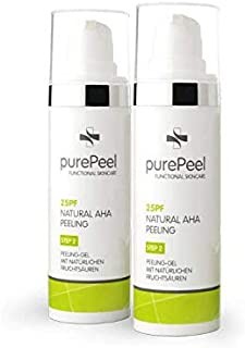 DUO PACK purePeel natürliches Gesichtspeeling-Gel / Natural AHA-Fruchtsäure-Peeling 25pf, 30 ml bei Fältchen, unreiner Haut, Unreinheiten, Mitessern, Pickeln & Pusteln