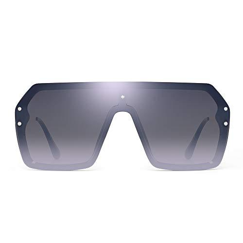 JIM HALO Oversized Schild Sonnenbrillen Flach Top Gradient Linse Randlos Brillen Für Damen Herren(Schwarzer Rahmen/Spiegel Silberlinse)