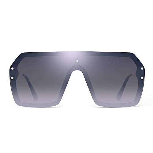 JIM HALO Oversized Proteger Gafas de Sol Plano Top Gradiente Lente Sin Marco Montura Anteojos Para Hombre Mujer(Marco Negro/Lente Plateado Espejo)