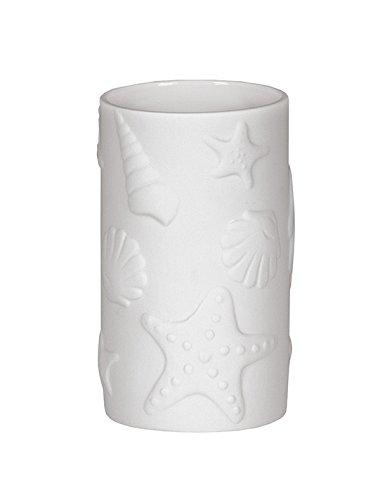 Kleine Wolke 5090100852 Vaso para Cepillo de Dientes de Estrella Marina, Bad-Accessoires, Blanco