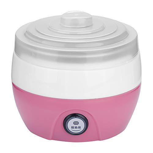 Yogurt Maker, 1L Contenedor interno de acero inoxidable de yogur automático eléctrico para el hogar DIY Maker(Rosado)