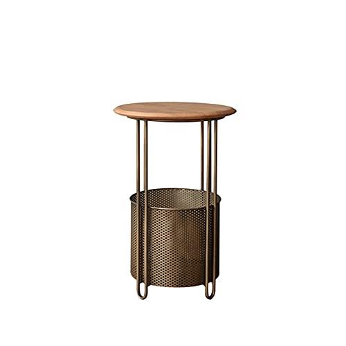 Mesas redondas de almacenamiento, mesas de café de metal estilo retro mesa auxiliar de madera con cesta de metal, para dormitorio, sala de estar, cafetería (tamaño: 40 x 60 cm)