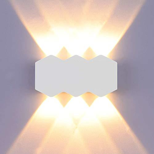 LIGHTESS 6W LED Wandleuchte Innen Up Down Wandlampe Modern Weiß Wandbeleuchtung für Wohnzimmer Schlafzimmer Flur Treppenhaus usw (Warmweiß)