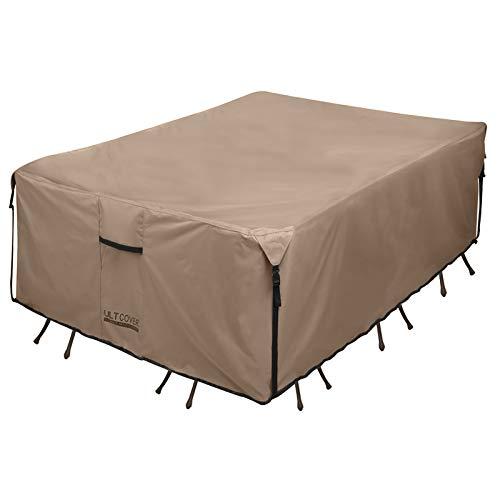ULTCOVER Housse de table rectangulaire très résistante en toile 600D imperméable pour table de salle à manger et chaises à usage général Dimensions : 224 x 152 x 71 cm