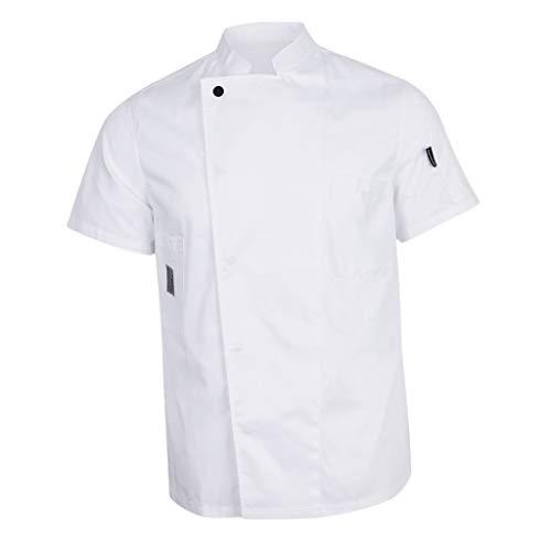 FLAMEER Giacca da cuoco a maniche corte, da cuoco, per gastronomia, da lavoro, da cucina bianco M