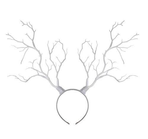 Carolilly Damen Mädchen Stirnband Haarband Geweih Baum Zweige Weihnachten Elch Rentier Kopfschmuck Headband Girlande Cosplay Deko Party Retro (weiß, Einheitsgröße)