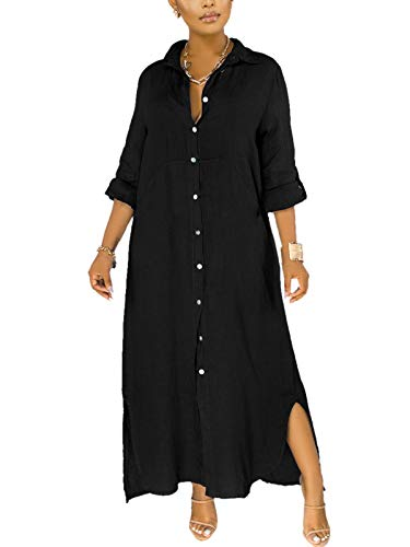 qfmqkpi Button Down Shirt Dress for Womens Roll Sleeve Loose Blouse Long Maxi Dresses with Side Splite Black XL