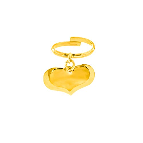 Anillo personalizable con corazones colgantes de plata 925 chapada en oro blanco con grabado incluido