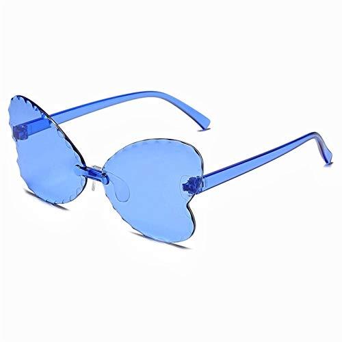 Gafas de Sol de Moda del corazón de una Pieza de una Pieza de Las Mujeres Gafas de Sol Gafas de Sol de Colores Retro Rimless Amor corazón en Forma de corazón Gafas UV400 (Color Name : 09A)