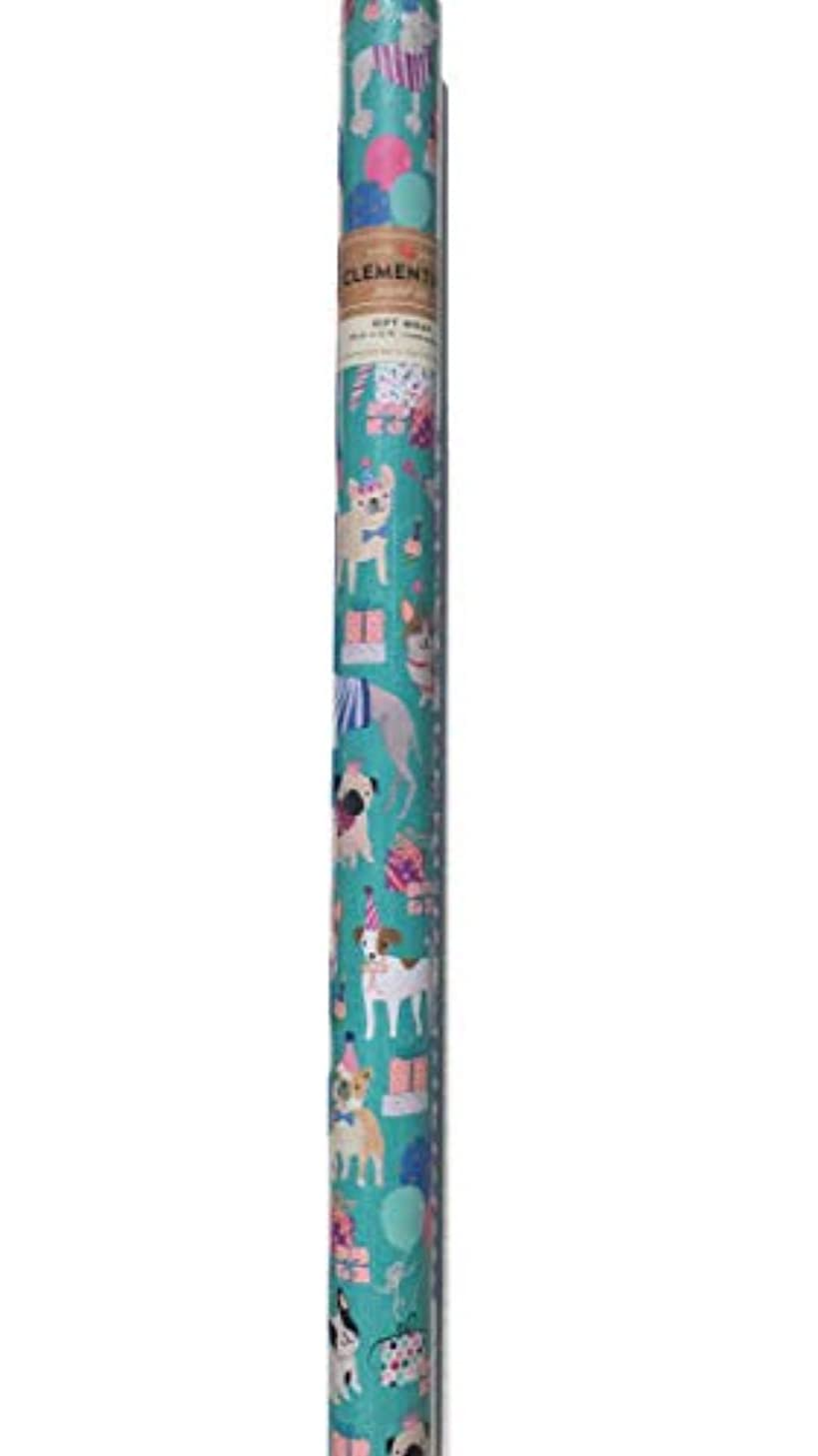 Clementine Birthday Whimsical Multi Puppy Dogs Premium Gift Wrap Continuous Paper Roll, Aqua (610068)