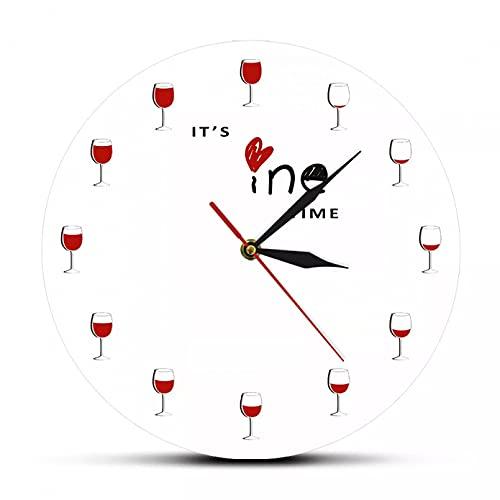 wszhh Es Hora del Vino Reloj de Pared Impreso Alcohol Copa de Vino Decoración del hogar Vino Tinto Reloj de Pared Licor Cata de vinos Bebedero Regalo de Amante