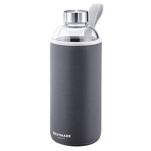 Westmark Botella para beber, De vidrio con impresión, Incl. cubierta protectora, 1000 ml, Vidrio/silicona/caucho, Sin BPA, Viva, Antracita/plata/transparente, 5274226A