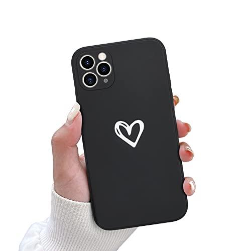 Newseego Custodia Compatible con iPhone 11 PRO Max,Molle Silicone Liquido Heart Design Case Cover Sottile in Gomma Morbida per iPhone 11 PRO Max Protettivo Custodia in Sottile iPhone 11 PRO Max-Nero