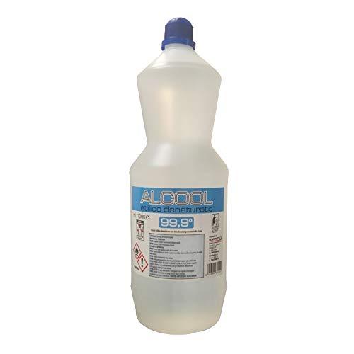 ALCOOL ETILICO DENATURATO 99.9° FLACONE 1000 ML - ALCOOL 1 LITRO PRODOTTO PROFESSIONALE DISINFETTANTE