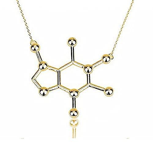 MTWERS Pequeño Colgante Cafeína Molécula Estructura Collar de Cadena Larga Mujeres Charm Jewelry Mix Lotes (Color : A24, Size : L24)