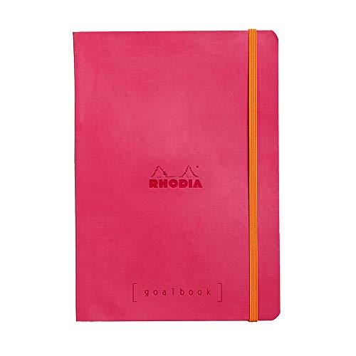 Rhodia 117752C Notizheft Goalbook (DIN A5, 14,8 x 21 cm, Dot, praktisch und trendige, mit weichem Deckel, 90g, elfenbeinfarbigem Papier, 120 Blatt, Gummizug, Lesezeichen) 1 Stück, Himbeer