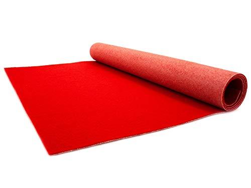 Roter Teppichläufer 1,00m x 5,00m - Hochzeitsläufer Hochzeitsteppich Gangläufer - Schwer Entflammbarer Messeteppich - VIP Eventteppich - 2,6mm Höhe
