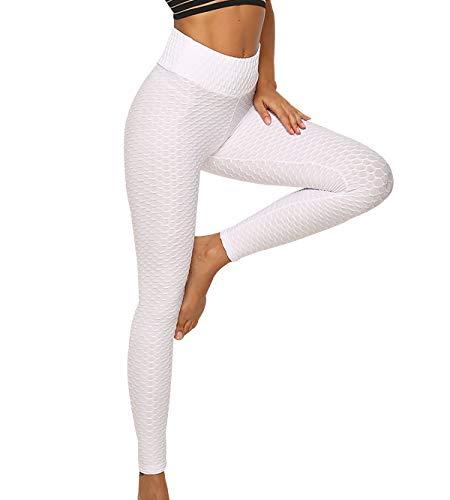 Leggins Deportivos Mujer Push Up Cintura Alta Gym Yoga Leggings Deporte Mujer Pantalones Leggins Fitness Running Anticeluliticos Mujer Talla Grande Mallas Deportivas Mujer Pantalon Pilates Blanco XS